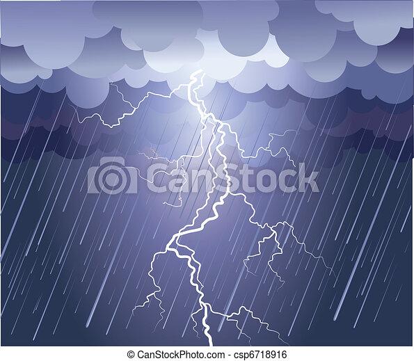 kép, strike., eső felhő, vektor, sötét, villámlás - csp6718916