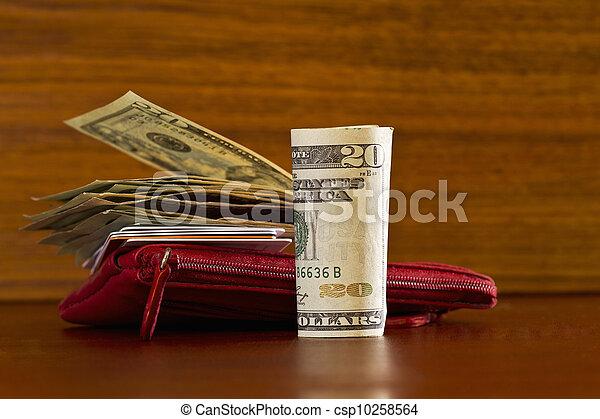kép, vagy, hitel, levéltárca, fogyasztó, amerikai, modern, items;, erdő, elhelyezett, anyagbeszerző, pénznem, kártya, mindenfelé, grain;, piros - csp10258564