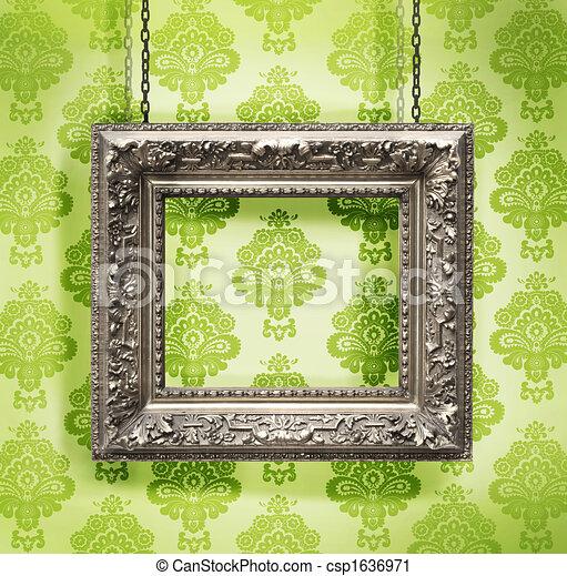 képkeret, tapéta, ellen, felfüggesztett, háttér, virágos, ezüst - csp1636971