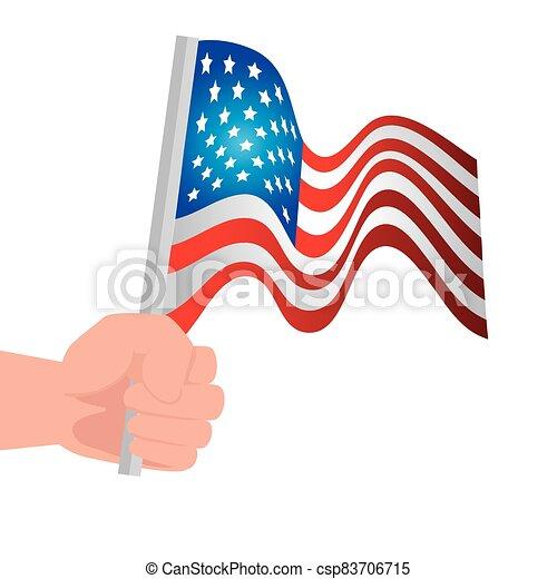 kéz, fehér, egyesült, háttér, egyesült államok, lobogó - csp83706715