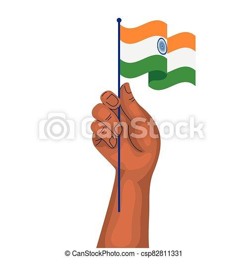 kéz, lobogó, nemzeti, háttér, india lobogó, fehér - csp82811331
