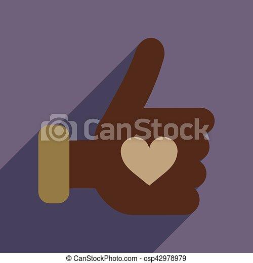kéz, szív, ikon, háló, hosszú, árnyék, lakás - csp42978979