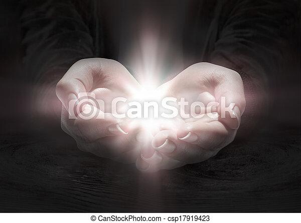 kézbesít, imádkozik, -, fény, feszület - csp17919423