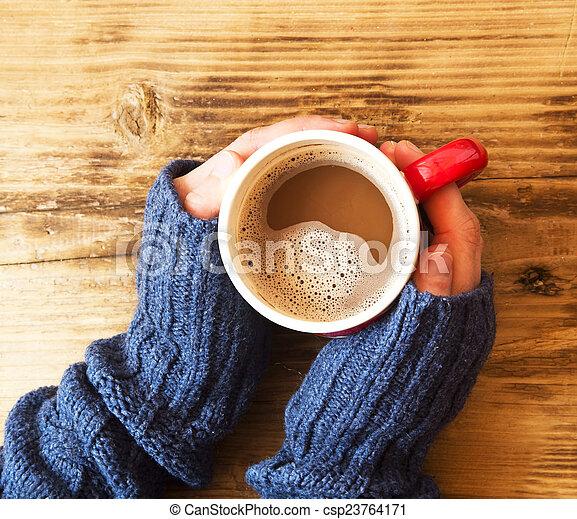 kézbesít, meleg, csokoládé, hatalom csésze - csp23764171