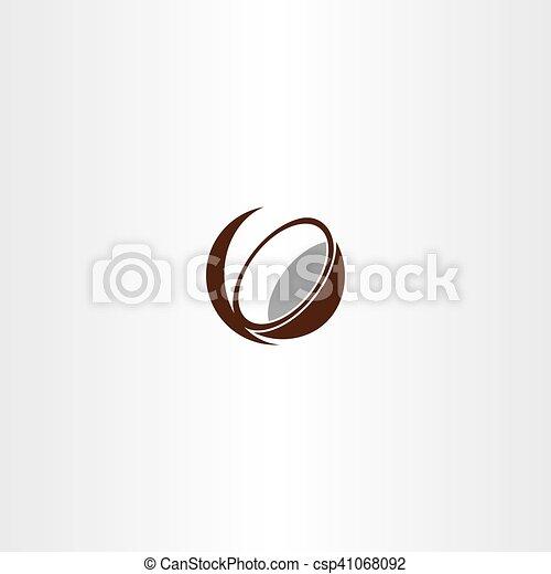 kókuszdió, vektor, jelkép, ikon - csp41068092