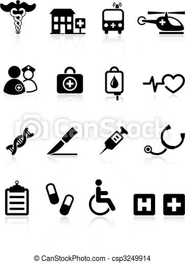 kórház, orvosi, ikon, gyűjtés, internet - csp3249914