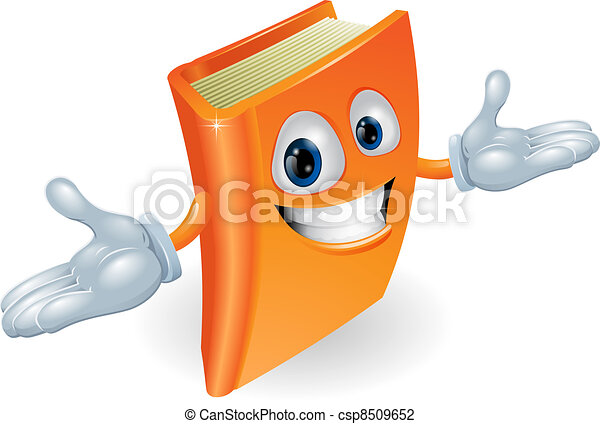 könyv, betű, karikatúra, kabala - csp8509652