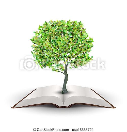könyv, nyílik, fa - csp18883724