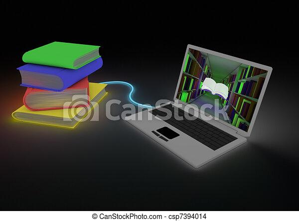 könyvtár, digitális - csp7394014