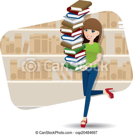 könyvtár, karikatúra, szállítás, cölöp, leány, könyv, furfangos - csp20484697