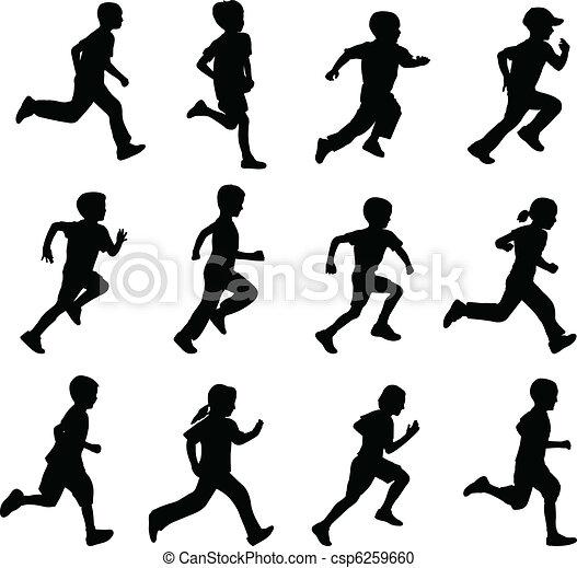 körvonal, futás, gyerekek - csp6259660