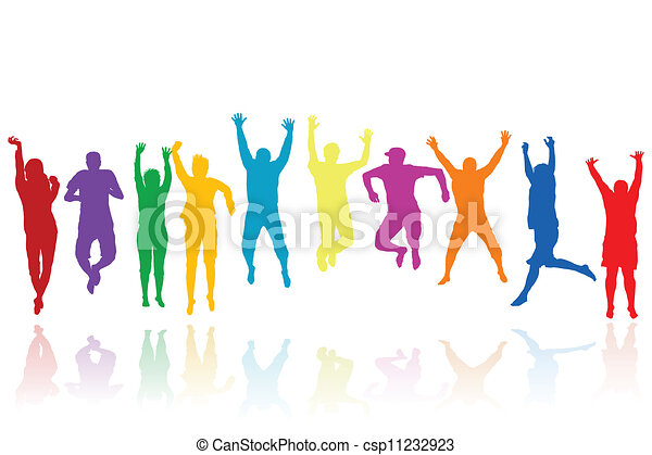 körvonal, ugrás, csoport, young emberek - csp11232923