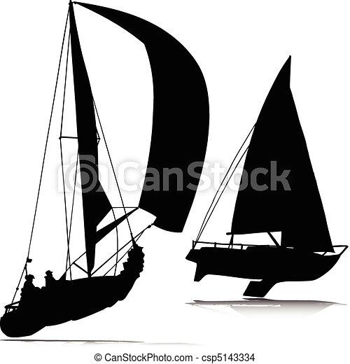 körvonal, vektor, sport, csónakázik - csp5143334
