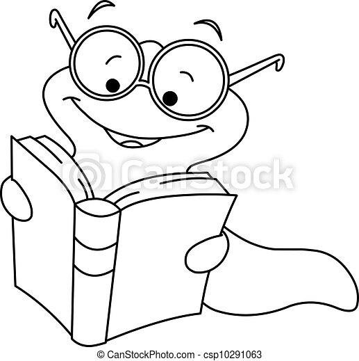 körvonalazott, könyv, féreg - csp10291063