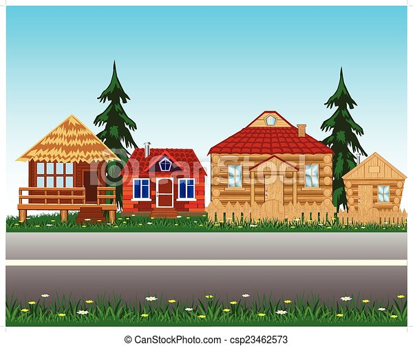közútak, falu, mellett - csp23462573