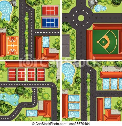 közútak, sport, antenna, színek, bíróságok - csp38679464