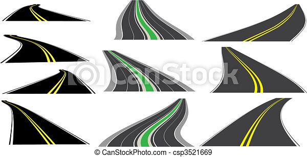 közútak, vektor, kilátás - csp3521669