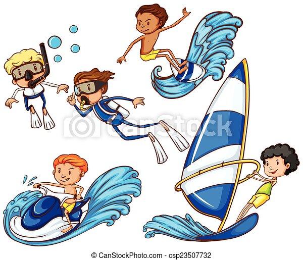 különböző, watersports, gyerekek, élvez - csp23507732