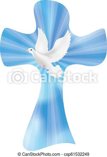 küllők, keresztény, ég, kereszt, elszigetelt, vektor, háttér, fénylő, galamb - csp61532249