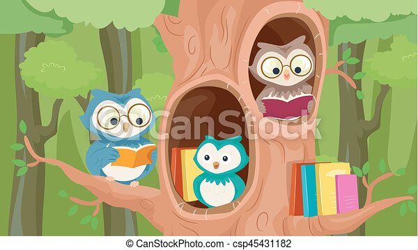 kabala, fa, könyvtár, baglyok - csp45431182