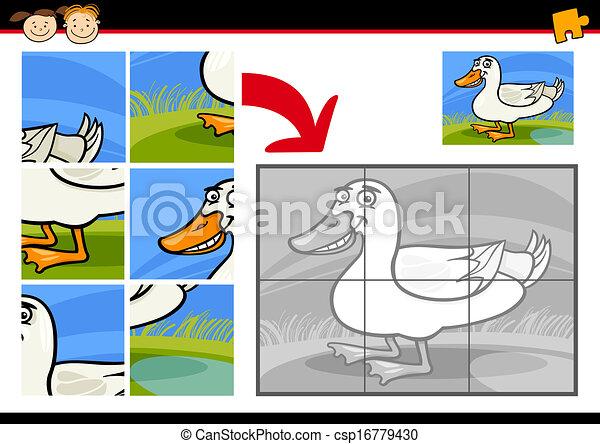 kacsa, rejtvény, lombfűrész, játék, karikatúra - csp16779430