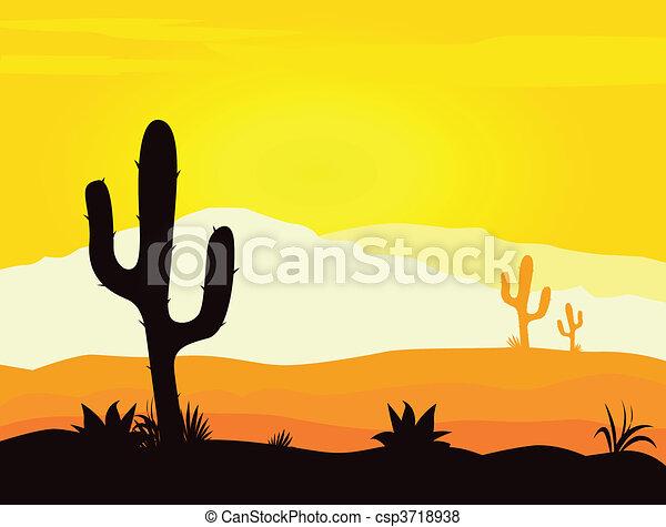 kaktusz, mexikó, dezertál, napnyugta - csp3718938
