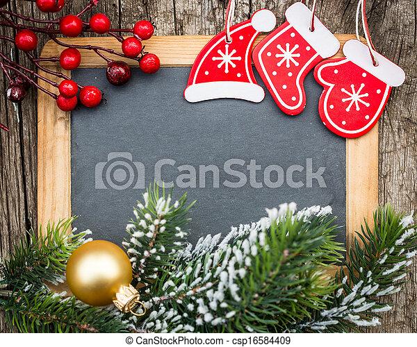 karácsony, tél, hely, fából való, szüret, concept., tiszta, fa, keretezett, ünnepek, szöveg, decorations., elágazik, tábla, másol, -e - csp16584409