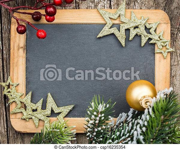 karácsony, tél, hely, fából való, szüret, concept., tiszta, fa, keretezett, ünnepek, szöveg, decorations., elágazik, tábla, másol, -e - csp16235354
