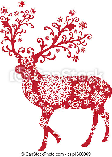 karácsony, vektor, őz - csp4660063