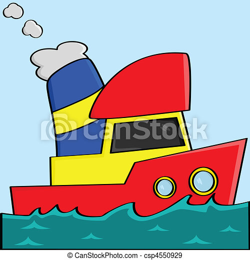 karikatúra, csónakázik - csp4550929