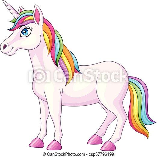 karikatúra, egyszarvú, szivárvány, ló - csp57796199
