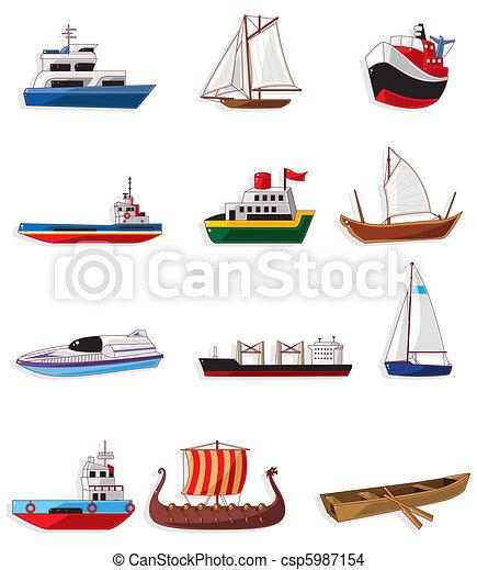 karikatúra, ikon, csónakázik - csp5987154