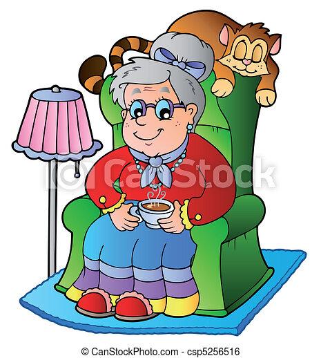 karosszék, nagyanyó, karikatúra, ülés - csp5256516