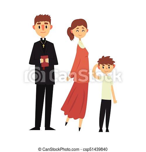 katolikus, lelkész, keresztény, család, emberek, öltözék, ábra, hagyományos, vallás, vektor - csp51439840