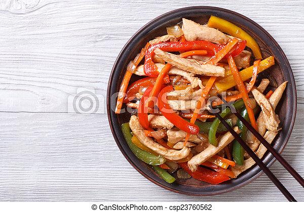 kellemes, csirke, food:, növényi, tető, fanyar, ázsiai, szósz - csp23760562