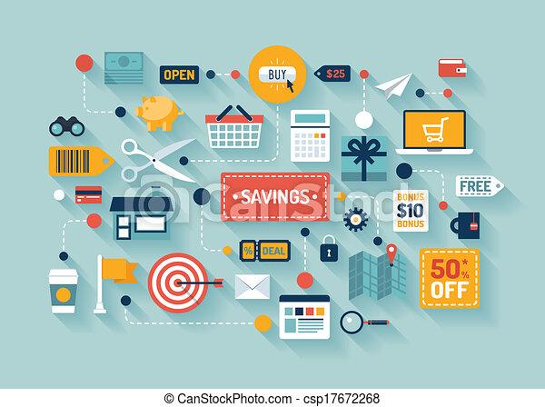 kereskedelem, megtakarítás, ábra, lakás - csp17672268