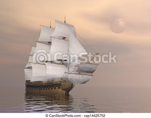 kereskedelmi, öreg, render, -, hajó, 3 - csp14425752
