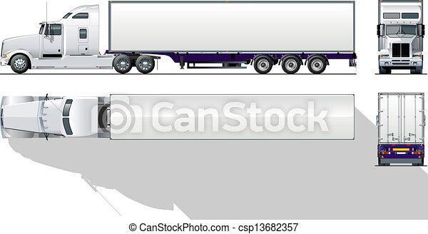 kereskedelmi, hi-detailed, semi-truck - csp13682357