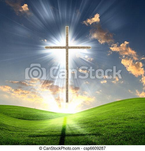 keresztény, ég, kereszt, ellen - csp6609287