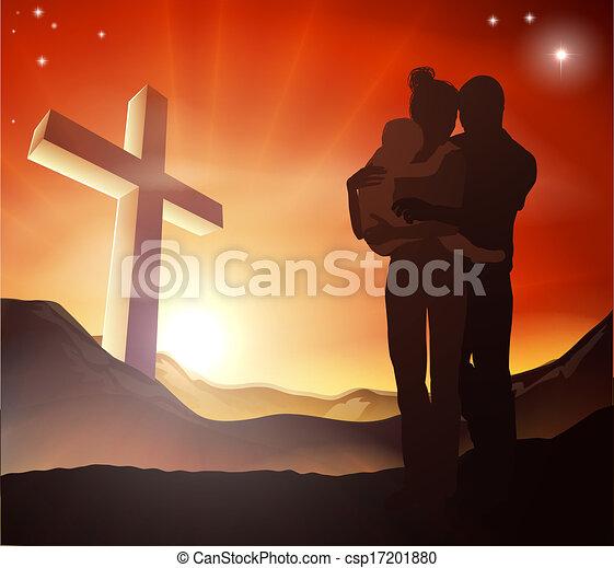 keresztény, csoport, kereszt, család - csp17201880