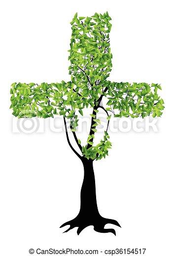 keresztény, fa, kereszt - csp36154517
