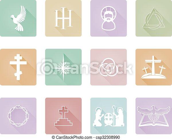 keresztény, ikonok - csp32308990