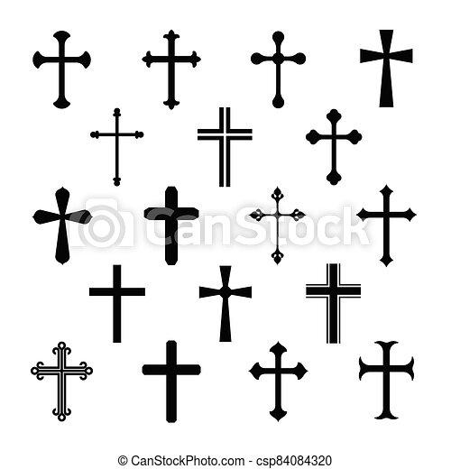 keresztény, kereszt, állhatatos, fehér, ikonok, háttér. - csp84084320