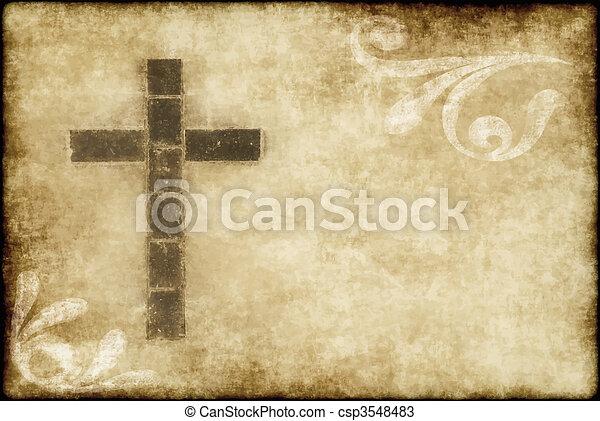 keresztény, kereszt, pergament - csp3548483