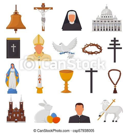 kereszténység, biblia, keresztény, krisztus, bibliai, ikonok, isten, kézbesít, cégtábla, elszigetelt, ábra, kereszt, jelkép, vallás, vektor, bizalom, háttér, templom, fehér, imádkozás, vallásos - csp57938005
