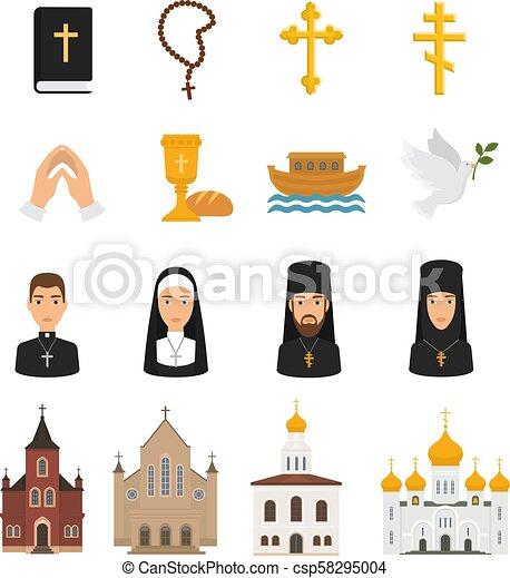 kereszténység, biblia, keresztény, krisztus, ikonok, isten, kézbesít, cégtábla, kereszt, ábra, elszigetelt, jelkép, vallás, vektor, bizalom, háttér, templom, fehér, imádkozás, vallásos - csp58295004