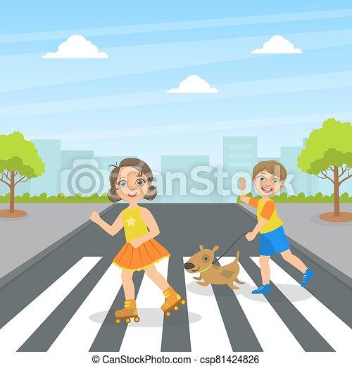 kereszt, gyerekek, csinos, utca, kutya, gyerekek, utca, használ, vektor, jár, gyalogló, ábra - csp81424826