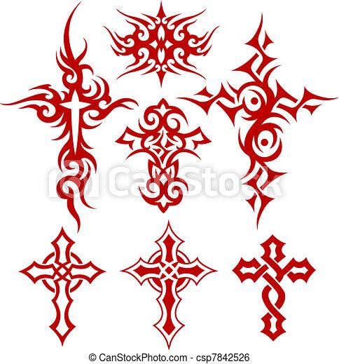 kereszt, jelkép, törzsi, felcsavar - csp7842526