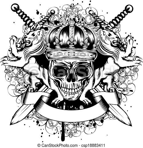 keresztbe tett, fejtető, kard, koponya, nevezetességek - csp18883411