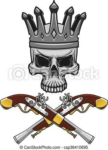 keresztbe tett, kalóz, koponya, lelő, megkoronázott - csp36410695